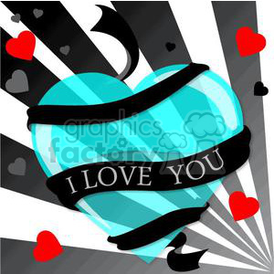 blue heart with I love you ribbon clipart. Royalty-free image # 381691
