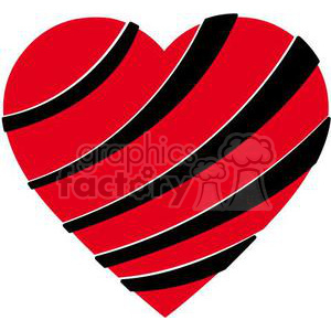 black and red stripped heart clipart. Commercial use image # 381701