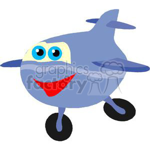 blue cartoon airplane clipart. Royalty-free image # 172100