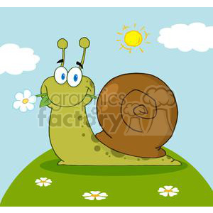 4088-Happy-Cartoon-Snail-With-A-Flower-In-Its-Mouth-On-A-Hill clipart. Commercial use image # 381963