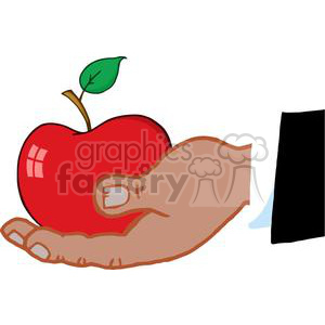 4103-African-American-Business-Hand-Holding-Red-Apple clipart. Commercial use image # 381968