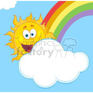 4046-Happy-Sun-Mascot-Cartoon-Character-Hiding-Behind-Cloud-And-Rainbow clipart. Royalty-free image # 381978