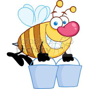 4105-Happy-Honey-Bee-Flying-With-A-Buckets clipart. Royalty-free image # 381983