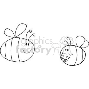 4122-Mother-Bee-Fflying-With-Baby-Bee-Cartoon-Characters clipart. Royalty-free image # 381988