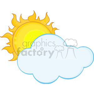 4029-Yellow-Sun-Shining-Hiding-Behind-Cloud clipart. Commercial use image # 382003