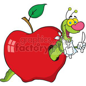 4098-Happy-Cartoon-Worm-In-Apple clipart. Royalty-free image # 382018