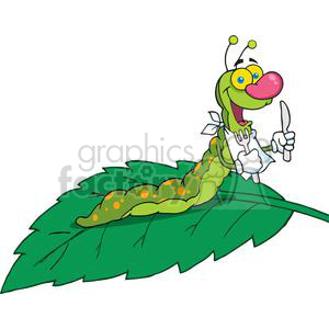4110-Happy-Caterpillar-On-A-Leaf clipart. Royalty-free image # 382023