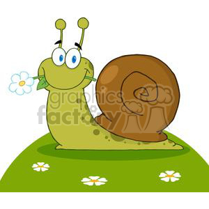 4087-Happy-Cartoon-Snail-With-A-Flower-In-Its-Mouth-On-A-Hill clipart. Commercial use image # 382028