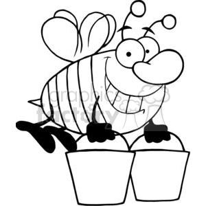 4104-Happy-Honey-Bee-Flying-With-A-Buckets clipart. Royalty-free image # 382043