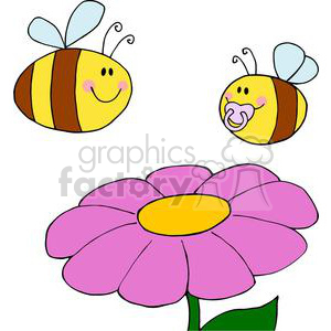 two bees and a flower clipart. Commercial use image # 382048