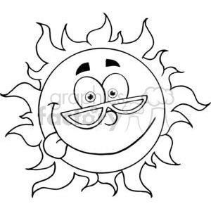 4035-Happy-Sun-Mascot-Cartoon-Character-With-Shades