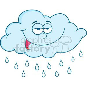blue relaxed rain cloud clipart. Royalty-free image # 382063