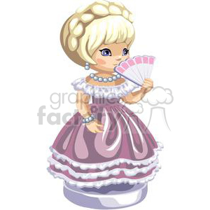 blond girl in a pink dress holding a fan in front of her face clipart. Royalty-free image # 376365