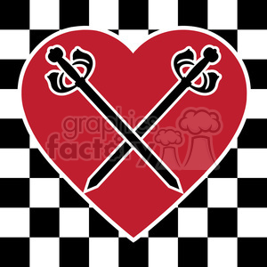 checkerboard heart with swords design