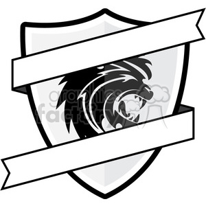 shield with lion emblem and blank ribbon