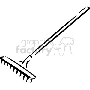 black and white rake clipart. Commercial use image # 384957