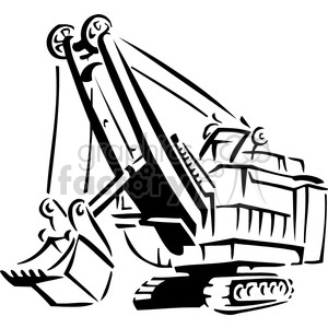 black and white heavy construction loader clipart. Commercial use image # 384977