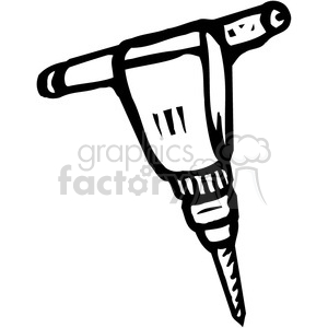 black and white jackhammer clipart. Commercial use image # 384987