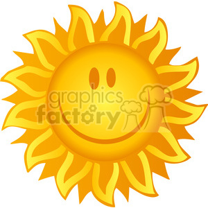 12890 RF Clipart Illustration Smiling Sun clipart. Royalty-free image # 385067