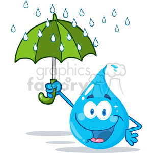 12867 RF Clipart Illustration Smiling Water Drop With Umbrella Under The Rain clipart. Royalty-free image # 385077