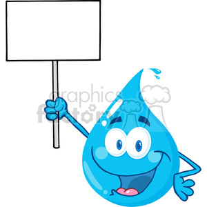 12862 RF Clipart Illustration Happy Water Drop Character Holding Up A Blank Sign clipart. Royalty-free image # 385097