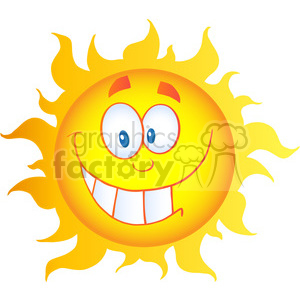 12906 RF Clipart Illustration Happy Sun Cartoon Character clipart. Commercial use image # 385117
