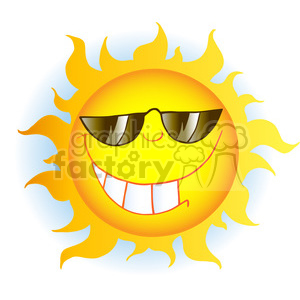 12900 RF Clipart Illustration Smiling Sun Cartoon Character With Sunglasses clipart. Royalty-free image # 385137