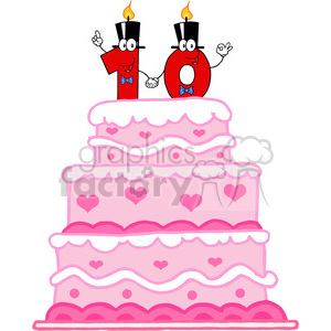128127 RF Clipart  Illustration Wedding Cake With Number Ten Candles Cartoon Character clipart. Commercial use image # 385147