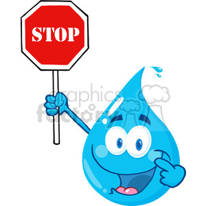 12860 RF Clipart Illustration Happy Water Drop Character Holding A Stop Sign clipart. Royalty-free image # 385157