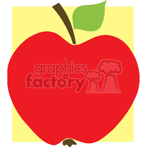12915 RF Clipart Illustration Red Apple With Yellow Background clipart. Royalty-free image # 385167