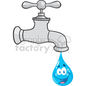 12877 RF Clipart Illustration Water Faucet With Smiling Water Drop Cartoon Character clipart. Commercial use image # 385177