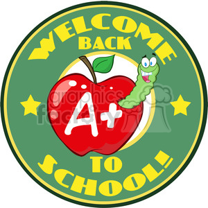 cartoon funny education school learning apple worm A grades welcome back to