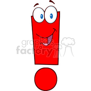 5039 clipart illustration of exclamation mark cartoon character