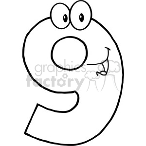 cartoon funny education school learning numbers character happy 9 nine black white