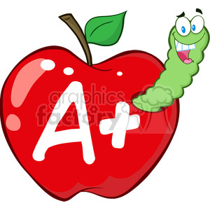 Royalty Free 4940 Clipart Illustration Of Happy Worm In Red Apple With Leter A Plus 385247