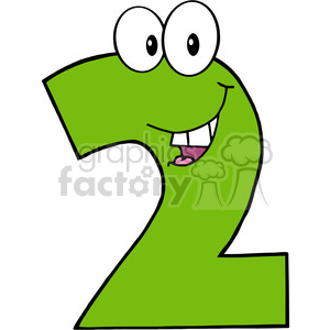cartoon funny education school learning numbers 2 two green