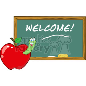 4954-Clipart-Illustration-of-Happy-Student-Worm-In-Red-Apple-In-Front-Of-School-Chalk-Board clipart. Royalty-free image # 385267