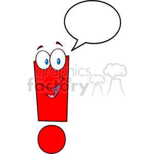 5040-Clipart-Illustration-of-Exclamation-Mark-Cartoon-Character-With-Speech-Bubble clipart. Royalty-free image # 385277