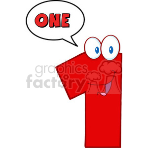 4969-Clipart-Illustration-of-Number-One-Cartoon-Mascot-Character-With-Speech-Bubble clipart. Royalty-free image # 385287