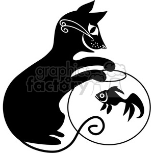 vector clip art illustration of black cat 044 clipart. Commercial use image # 385307