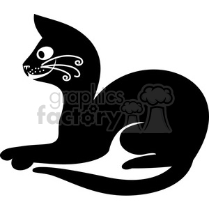 vector clip art illustration of black cat 059