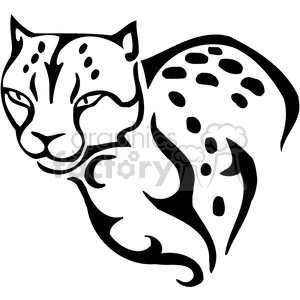 vector black+white animals wild outline vinyl-ready cat cheetah tattoo
