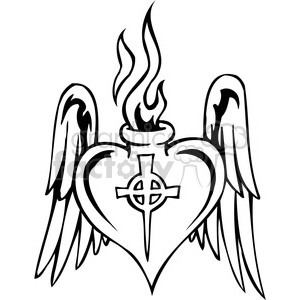 Religion Christian Christianity black+white heart wings tattoo