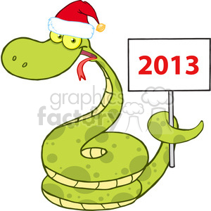 5150-Happy-Snake-With-Santa-Hat-Holding-Up-A-Blank-Sign-Royalty-Free-RF-Clipart-Image clipart. Commercial use image # 386231