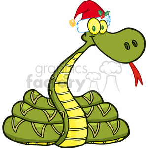 5127-Snake-Cartoon-Character-With-Santa-Hat-Royalty-Free-RF-Clipart-Image clipart. Royalty-free image # 386261