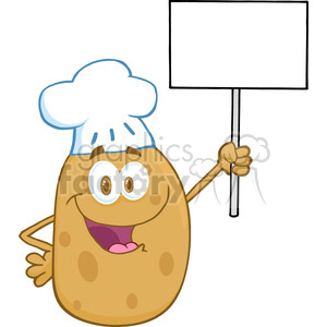 5180-Potato-Chef-Holding-Up-A-Blank-Sign-Royalty-Free-RF-Clipart-Image clipart. Royalty-free image # 386291
