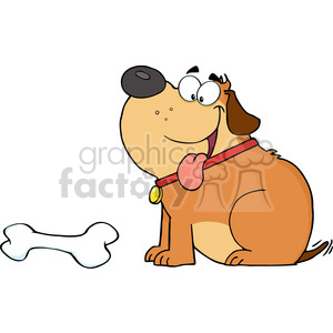 5250-Happy-Fat-Dog-With-Bone-Royalty-Free-RF-Clipart-Image clipart. Royalty-free image # 386301