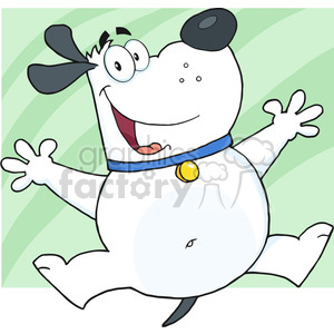 5235-Happy-Fat-White-Dog-Jumping-Royalty-Free-RF-Clipart-Image clipart. Royalty-free image # 386311
