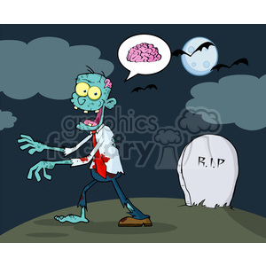 5083-Blue-Zombie-Walking-With-Hands-In-Front-And-Speech-Bubble-With-Brain-Royalty-Free-RF-Clipart-Image clipart. Royalty-free image # 386361