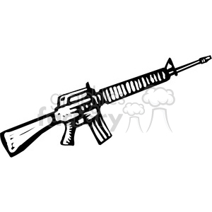 black and white machine gun M16 clipart. Commercial use image # 173665